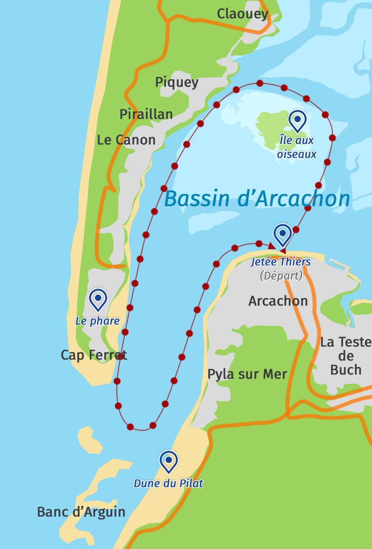 Carte du Grand Tour du Bassin d'Arcachon en Catamaran