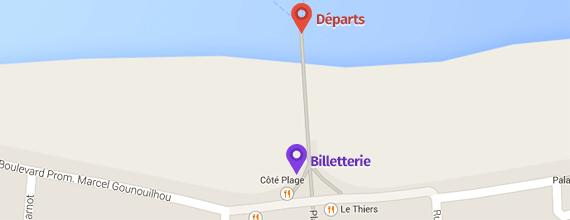 Google Maps de la billetterie et des départs